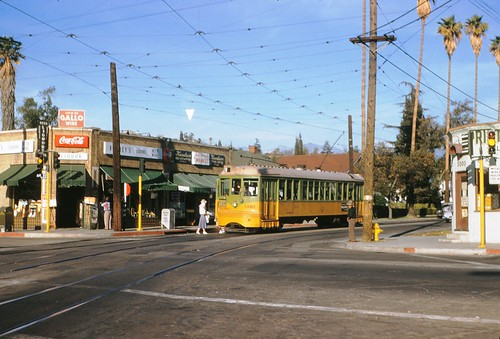 003 - LATL W Line Car 1201 Monte Vista & Ave. 50 Looking East 19541210   by Metro Transportation Library and Archive