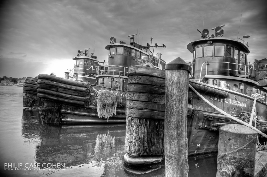 Tugboats at High Tide by Philip Case Cohen