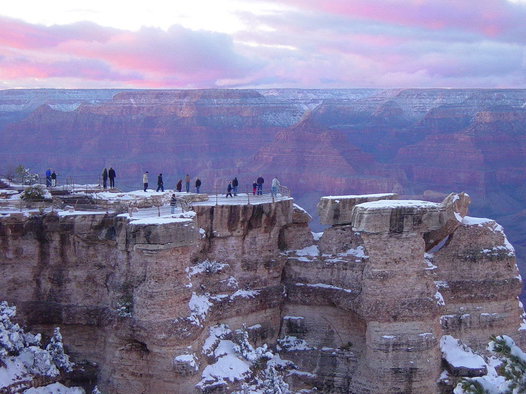 Grand Canyon Winter Sunset At Mather Point D2543 Visitors