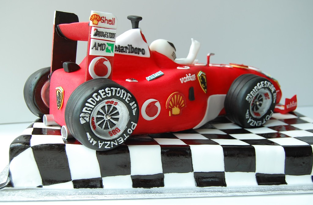 Amazing Ferrari F1 Race Car Birthday Cake Rear Charmchang Flickr Funny Birthday Cards Online Elaedamsfinfo