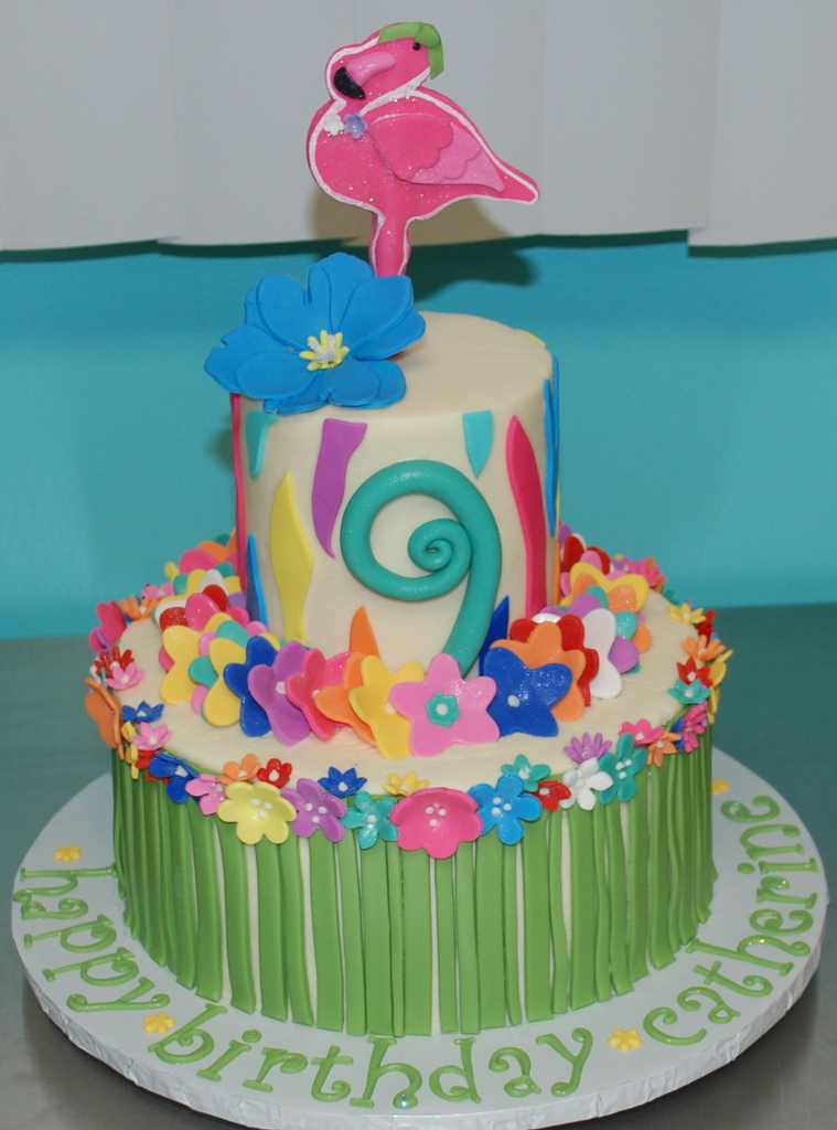 Excellent Luau Birthday Cake Heres The Cake I Worked On Today Its Flickr Personalised Birthday Cards Cominlily Jamesorg