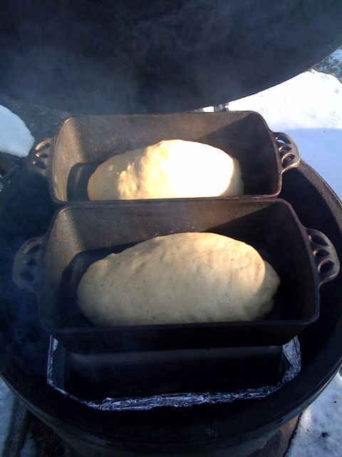 Baking Bread In Big Green Egg Ceramic Grill Outdoors 2