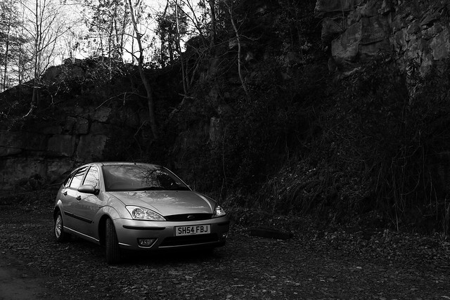 2004 Ford Focus at the Rockface (monochrome)