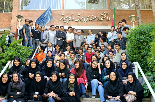 Professor Rouhani Rankouhi and his Students in front of Faculty of Electrical and Computer Engineering, Shahid Beheshti University, Tehran, Iran