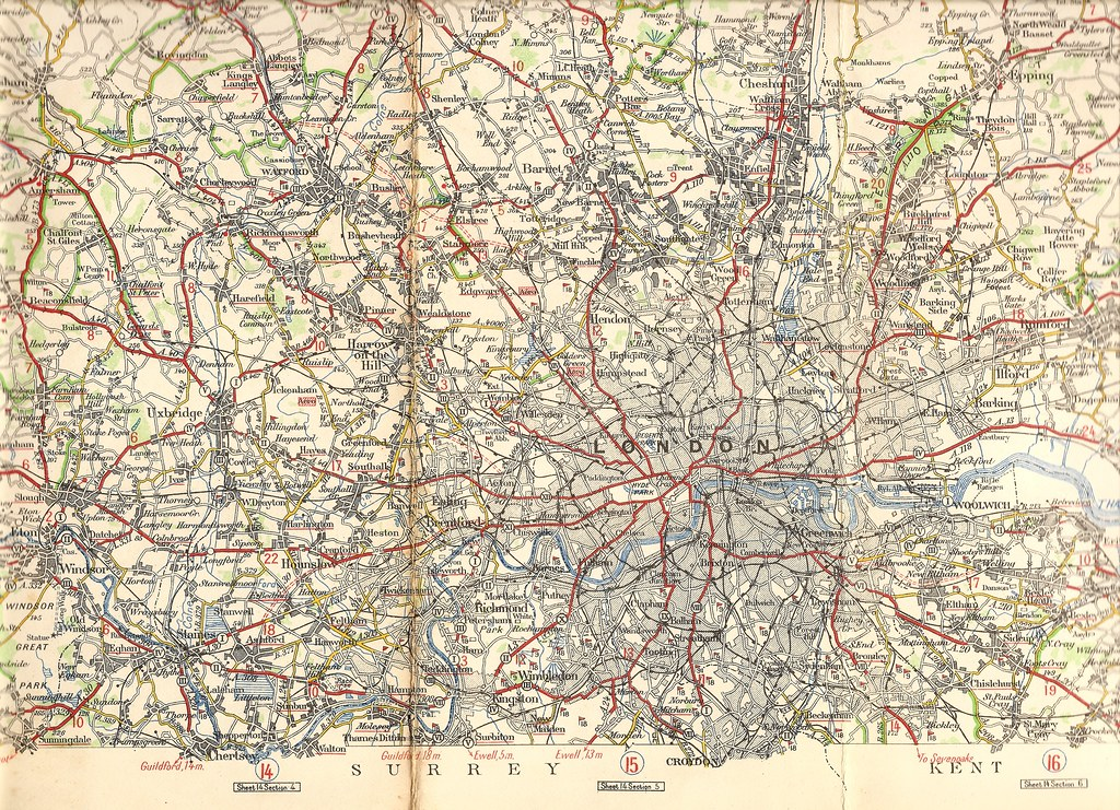London And Surrounding Areas Map.London Area Road Map Michelin Map C1925 Posted To Show Flickr