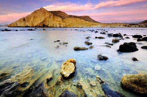 sea seascape water marina sunrise landscape geotagged mar rocks paisaje amanecer almeria rocas cocedores geo:lat=37374228 geo:lon=1629286 cuellar2010top20