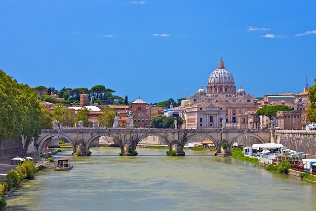 St. Peter's Basilica and Ponte Sant'Angelo from Ponte Umberto I