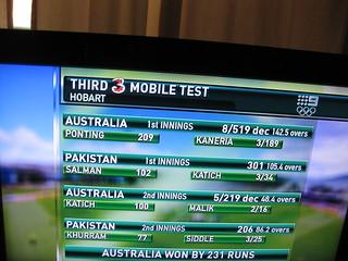 AUSTRALIA WON BY 231 RUNS