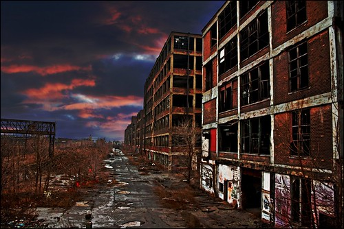 sunset sky urban plant abandoned industry car clouds sunrise hope cityscape sad view decay michigan urbandecay albert detroit january ruin automotive icon kahn future waste dilapidated packard 2010 313 noitsnothdr thisskybroughttoyoubyawordthatrhymeswithsnorin thehousethatmoobybuilt idontrememberifthiswassunriseorsunsetsorry ineverknewthiswasconsideredpoletownuntilimappeditjustnow