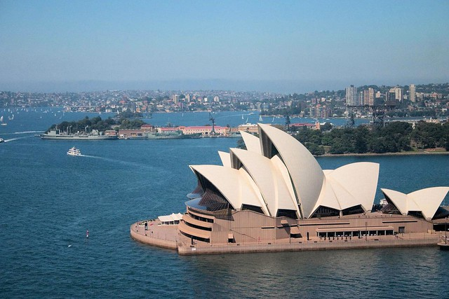 Looking down on the Sydney Opera House from the Harbour Bridge
