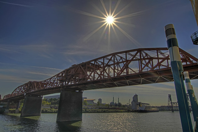 Broadway Bridge with Sun Flare - Portland Oregon - HDR