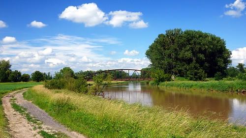 bridge blue sky clouds river europa europe track republic czech most lane morava reka rzeka czechy morawa morawy charvátydrahlov
