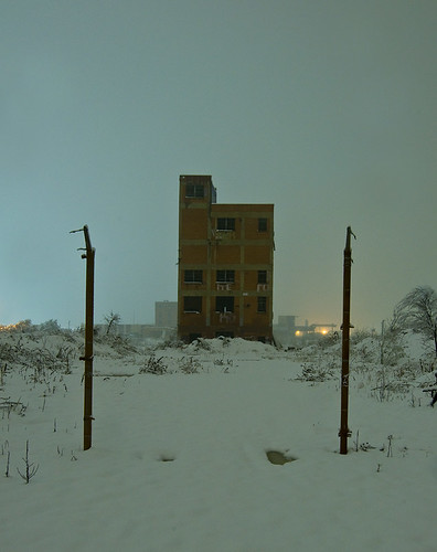 snow plant abandoned night ruins texas fort packing meat worth swift stockyards