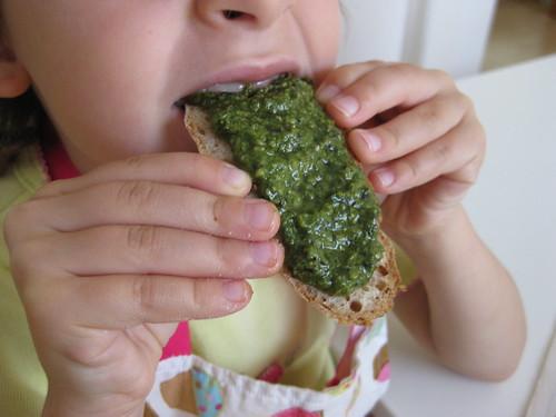 Yummy Pesto on Fresh Bread | by MakeBreadAU