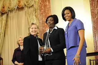 Secretary Clinton With First Lady Michelle Obama and Honoree Sonia Pierre of the Dominican Republic | by U.S. Department of State