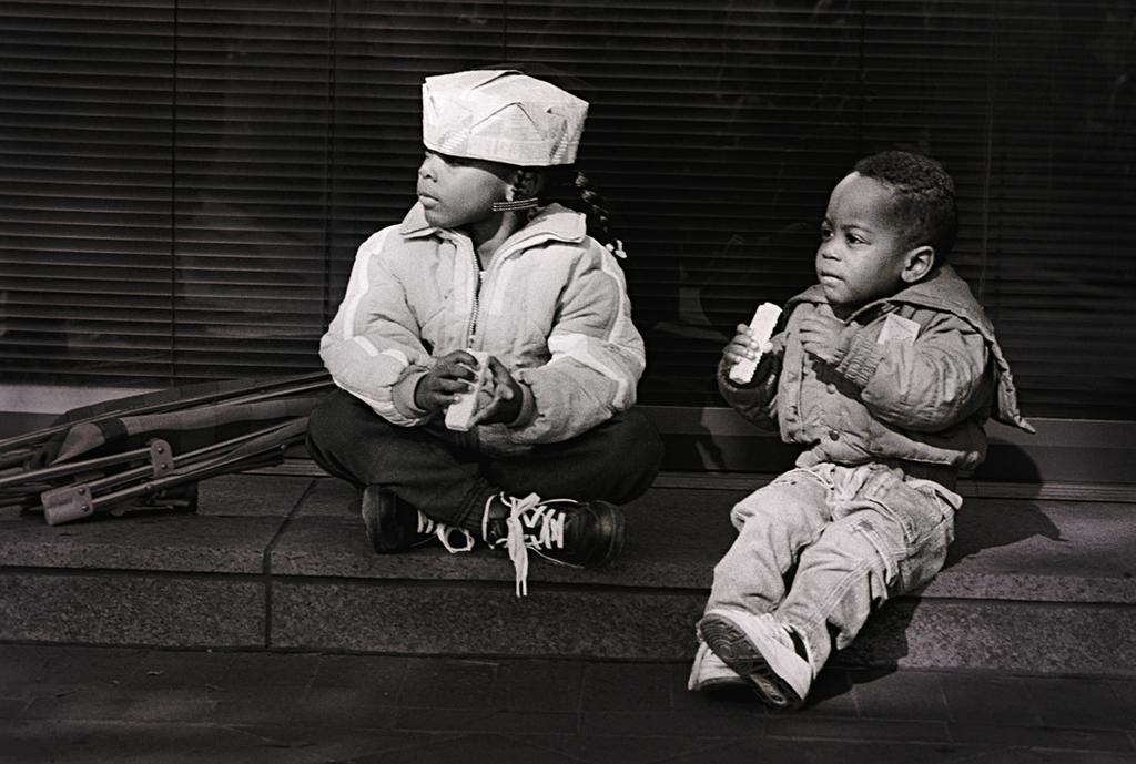 Black Children Sitting On A Curb, Washington, DC