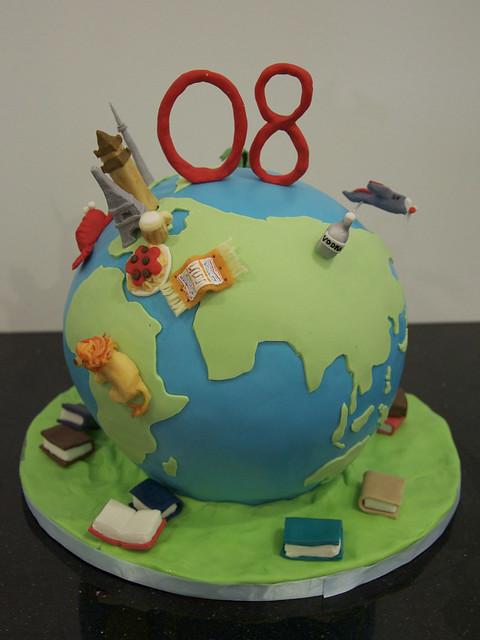 globe travel birthday cake