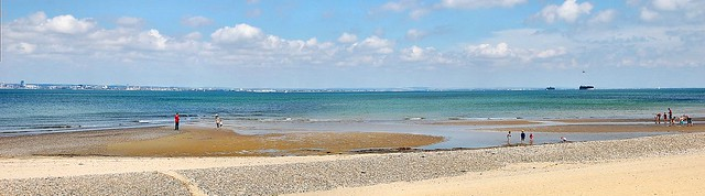 Panoramic view of Ryde beach on the Isle of Wight UK.
