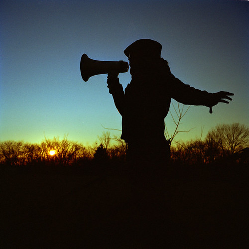The bullhorn poet speaks to the horizon. | by rex dart: eskimo spy