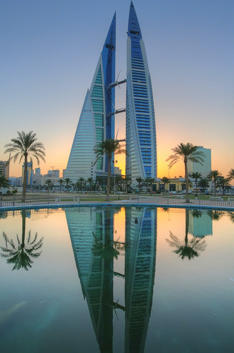 world reflection sunrise bahrain high nikon dynamic middleeast center twintowers trade range f28 hdr manama 1424mm fotocompetition fotocompetitionbronze fotocompetitionsilver