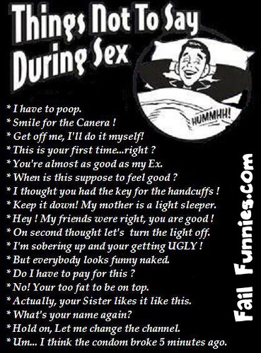 Say things after sex not to 25+ Things