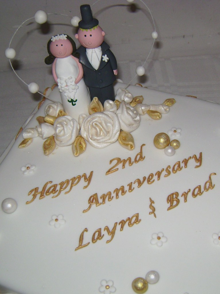 2nd Anniversary Cake Topper And Design Was Given By Client