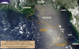 Deepwater Horizon Oil Spill – MODIS/Aqua Detail (with interpretation), May 27, 2010