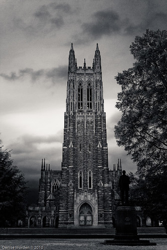morning blackandwhite bw fall rain architecture canon nc durham cloudy gothic northcarolina duke overcast chapel denise dukeuniversity worden 450d deniseworden