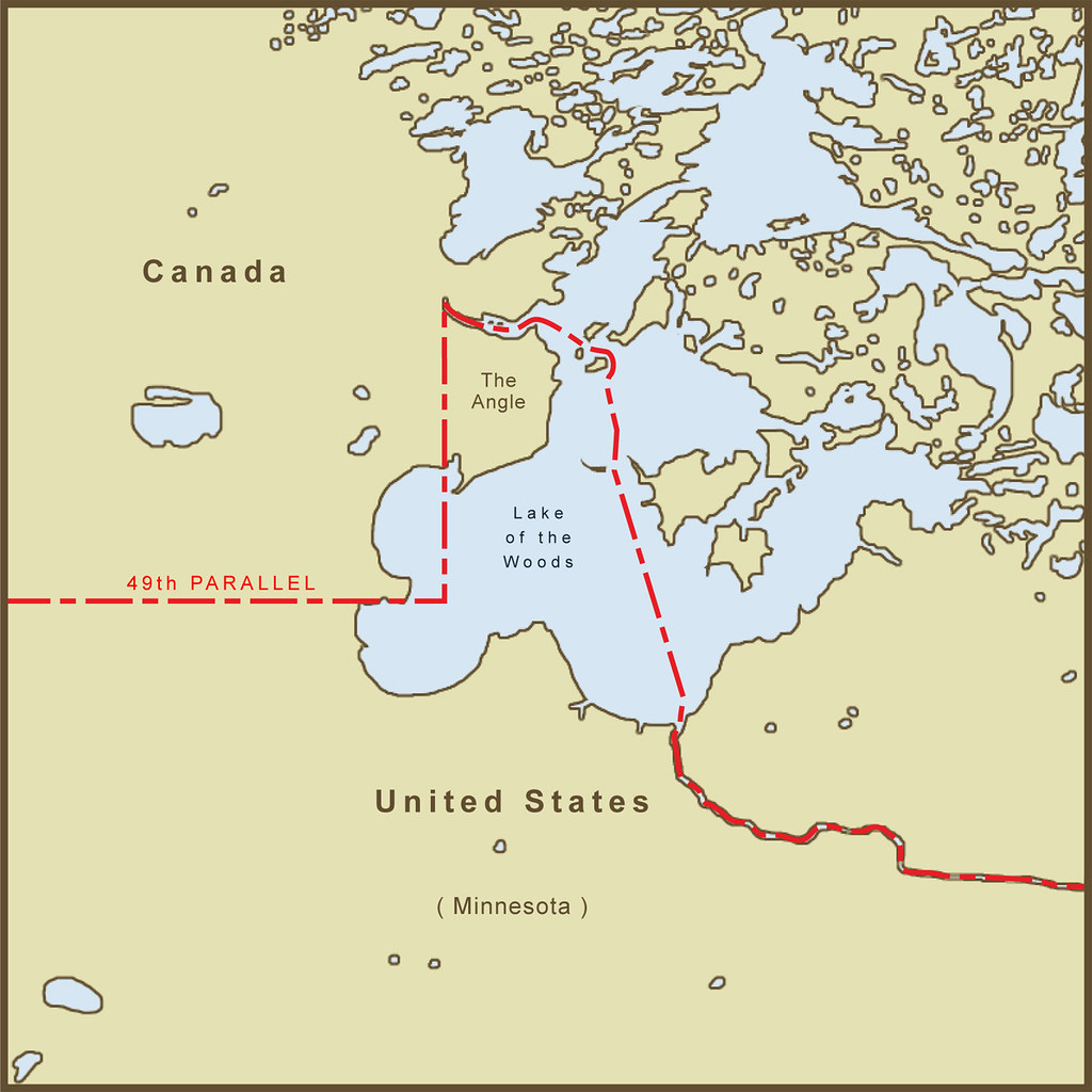 A Map Of The Northwest Angle Border Between The Usa And Flickr - Map-of-border-between-us-and-canada