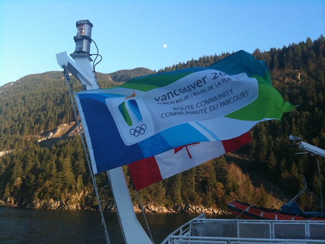Olympics and Canadian Flags on the Queen of Capilano