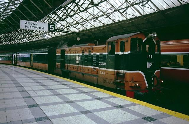 Irish GM 134 at Cork Kent Station - 28th November, 1989