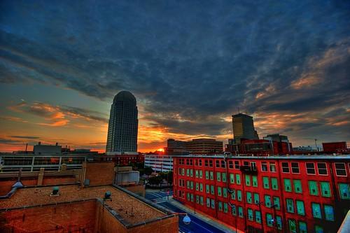 sunset skyline clouds landscape nc downtown cityscape tripod northcarolina hdr gitzo winstonsalem photomatix winstontower 3exposure 100northmain arcatech gt2531 nikonafsnikkor1635mmf4gedvr