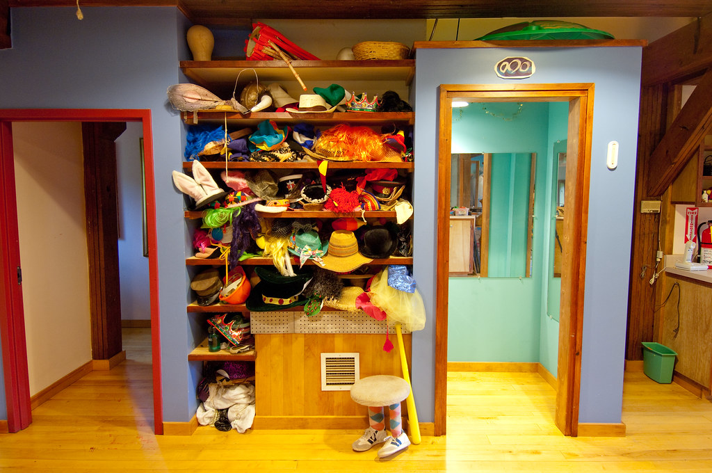 wacky wigs and hat closet