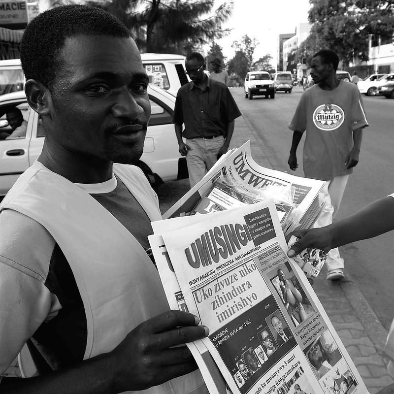Selling Umusingi newspaper in Kigali