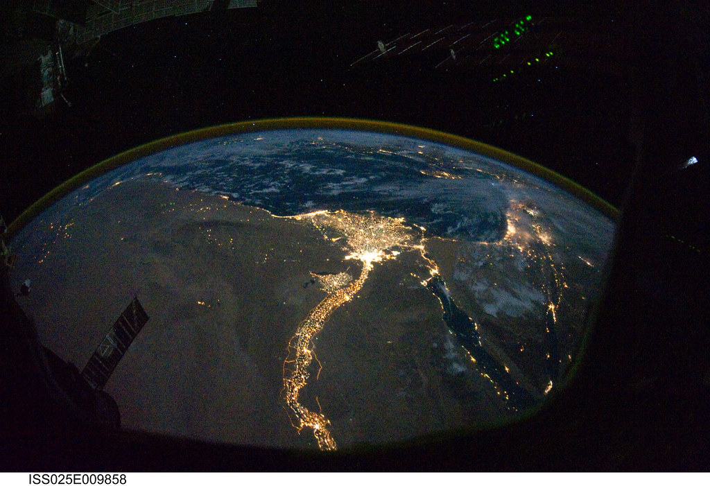 Cairo And Alexandria Egypt At Night Nasa International