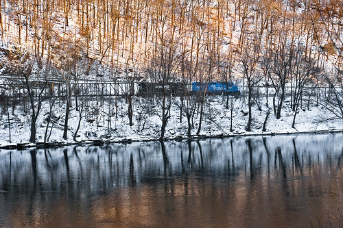 trees sunset snow reflections haiku nj deleware freight delewareriver deisel warrencounty