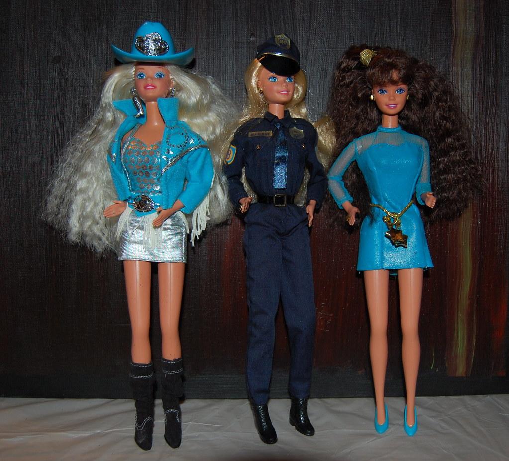 Three Barbies Mattel S 1993 Western Stampin Barbie I Bou
