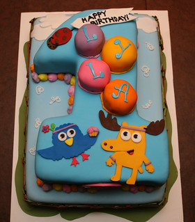 Moose & Zee First Birthday Cake - Lyla | by Lucky Penny Cakes