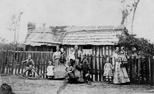 roof fence children women mothers queensland rockinghorse 1870s statelibraryofqueensland 1872 mothersandchildren gympie barkhouse slq
