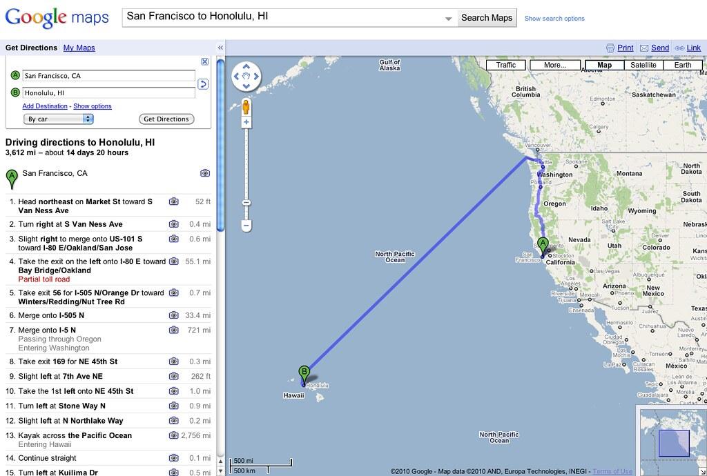 Google Maps California To Hawaii Step 13 Is A Doosie Ryan