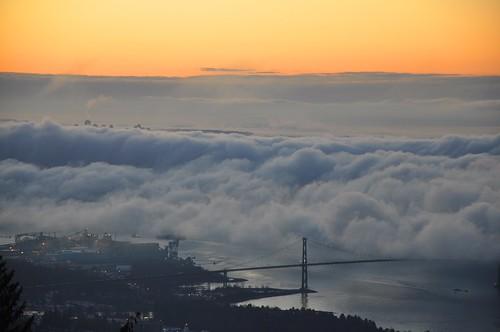 fog vancouver clouds sunrise lookout cypress lionsgatebridge cypressmountain explored travelsofhomerodyssey