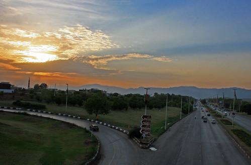 pakistan sunset evening faizabad flyover islamabad rawalpindi