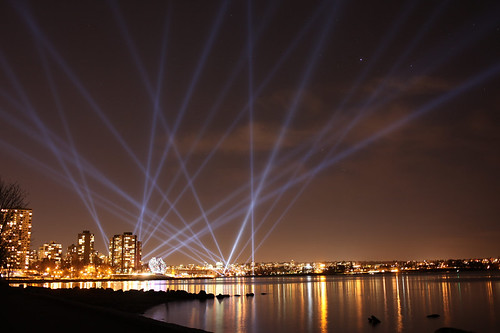The new Vectorial Elevation light show in English Bay, as seen from the Stanley Park seawall | by halfgeek