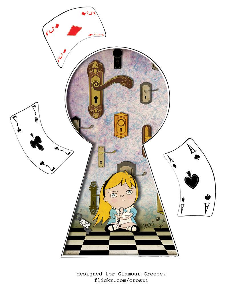 alice in wonderland keyhole clipart - 600×674