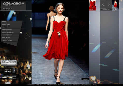 Model Regina F. wearing stunning red velvet dress with gold decoration, Dolce and Gabbana, Fashion Show, Winter 2011, http://www.dolcegabbana.com/dg/fashion-show/woman/runway | by Wonderlane