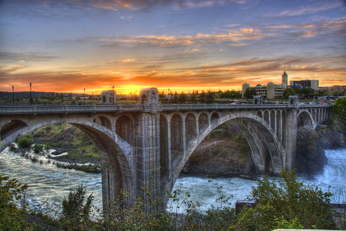 bridge sunset river washington spokane arch jim falls historic 201005 facebook monroestreet jimgspokane