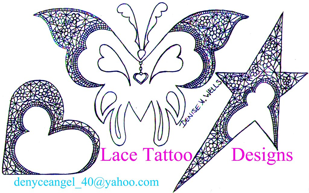 bbda9d646 ... Lace Butterfly Star Heart Tattoo Designs by Denise A. Wells | by ♥Denise  A