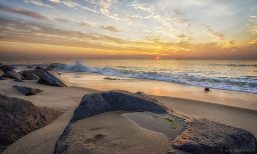 ocean beach sunrise landscape coast seaside sand rocks sony sandy nj shore serene hook tranquil a7 sandyhook sel1635z