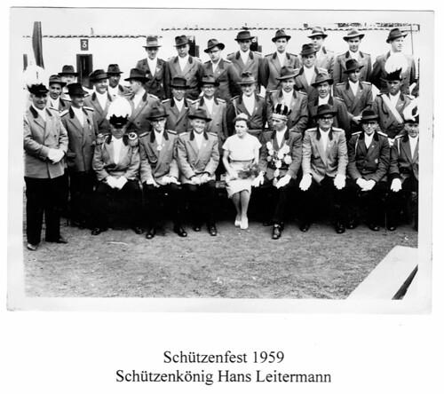 1959 Schützenfest, Schützenkönig Hans Leitermann, Königin Christel, SW083 | by Sebastianer