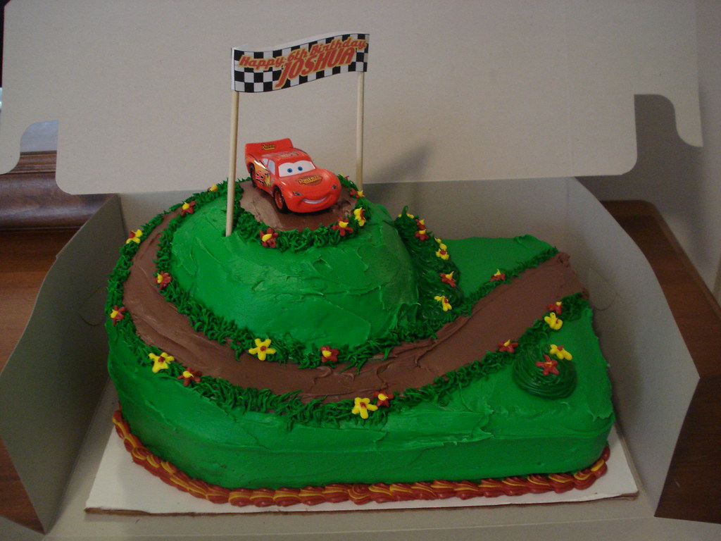 Awe Inspiring Lightning Mcqueen Cake Birthday Cake For A 6 Year Old He Flickr Personalised Birthday Cards Veneteletsinfo